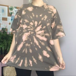 Brown Orange Bleached Tie Dyed Oversized Tee XL